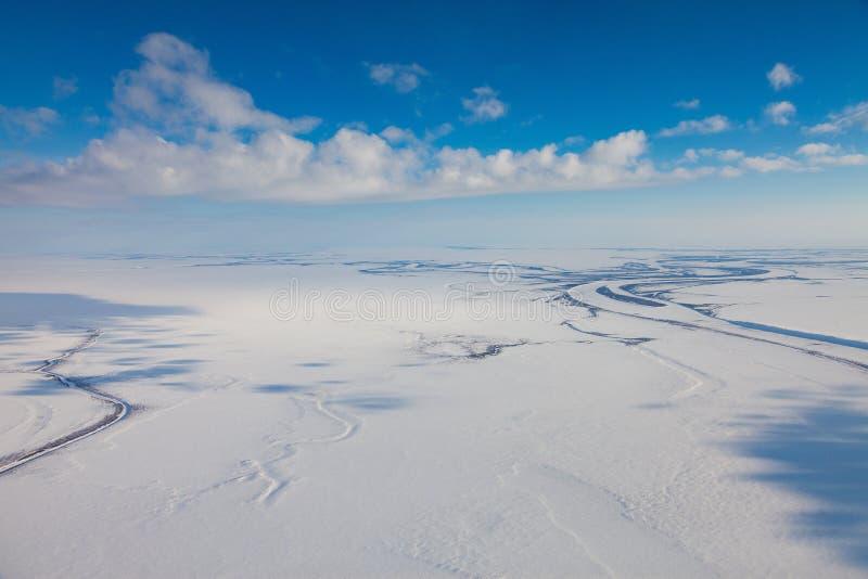 Toundra d'hiver d'en haut photos libres de droits