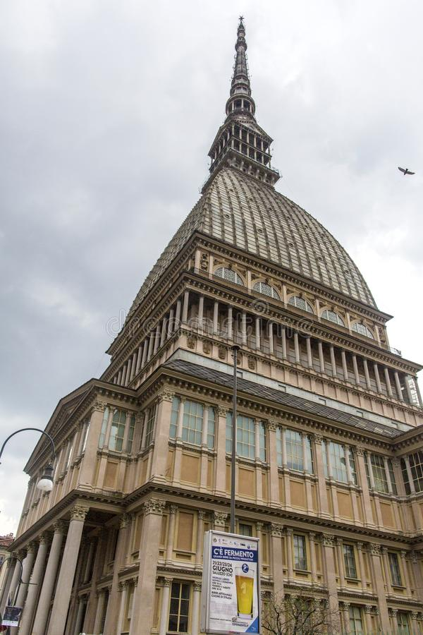A toupeira Antonelliana em Turin, Itália É uma construção principal do marco na cidade, nomeada pelo arquiteto que a construiu, A imagem de stock royalty free