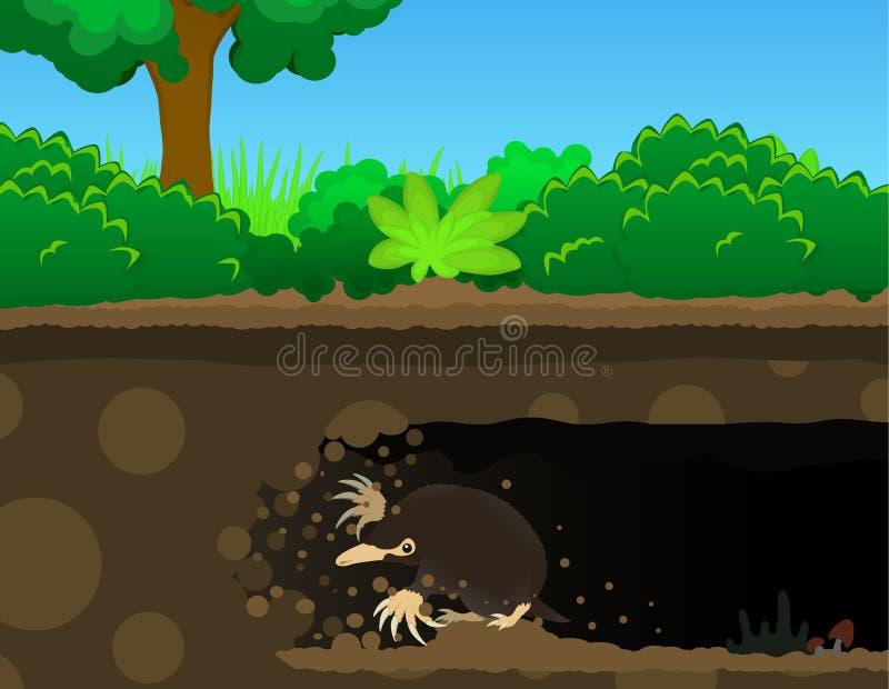 Toupeira Dig Cartoon ilustração stock