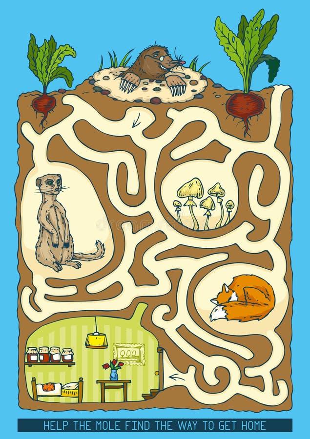 Toupeira Maze Game ilustração royalty free