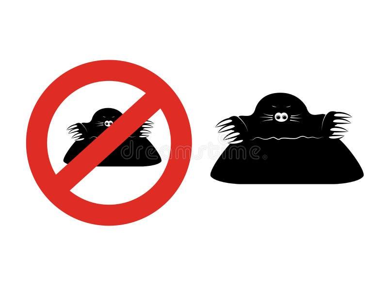 Toupeira no fundo branco Silhueta preta em um círculo vermelho Símbolo do sinal da praga do jardim da parada da proibição em uma  ilustração do vetor