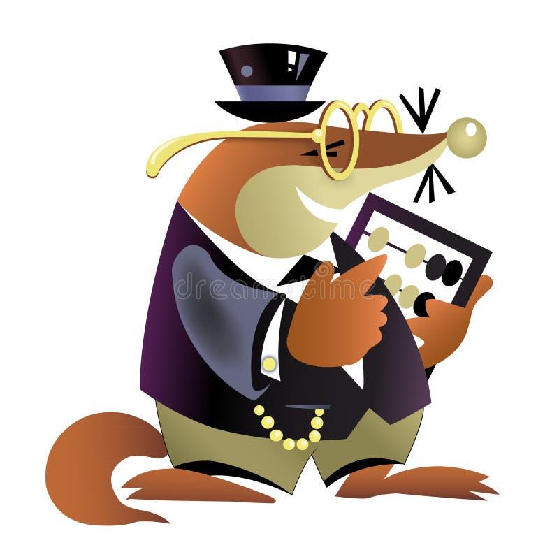 A toupeira velha um banqueiro com um ábaco ilustração do vetor