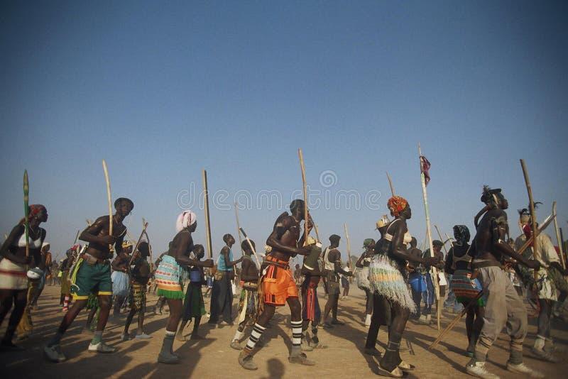 Toupouri传统danse北部喀麦隆Nord喀麦隆 图库摄影