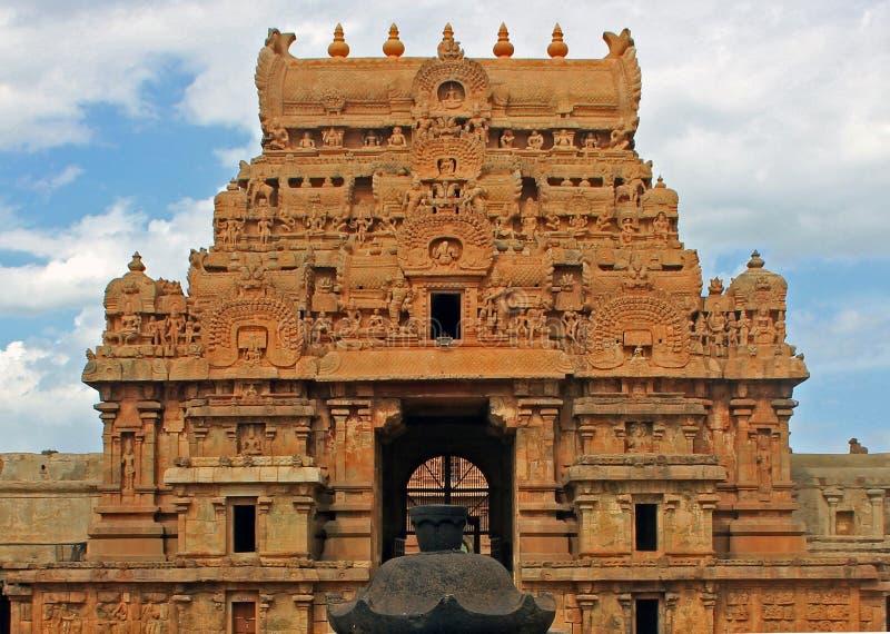 Tour à l'entrée au grand temple, Thanjavur, Inde photographie stock libre de droits
