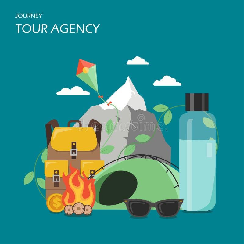 Tour agency poster banner, vector flat illustration. Tour agency advertising poster banner. Vector flat illustration. Mountain, kite, campfire, tent, backpack stock illustration
