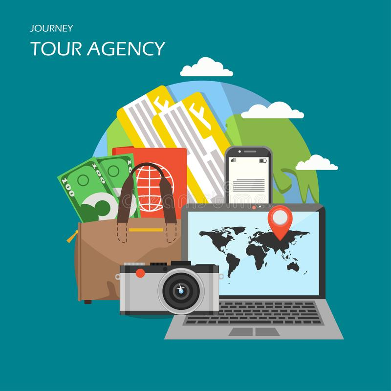 Tour agency poster banner, vector flat illustration. Tour agency poster banner. Vector flat illustration. Globe, smartphone, plane tickets, bag with passport stock illustration