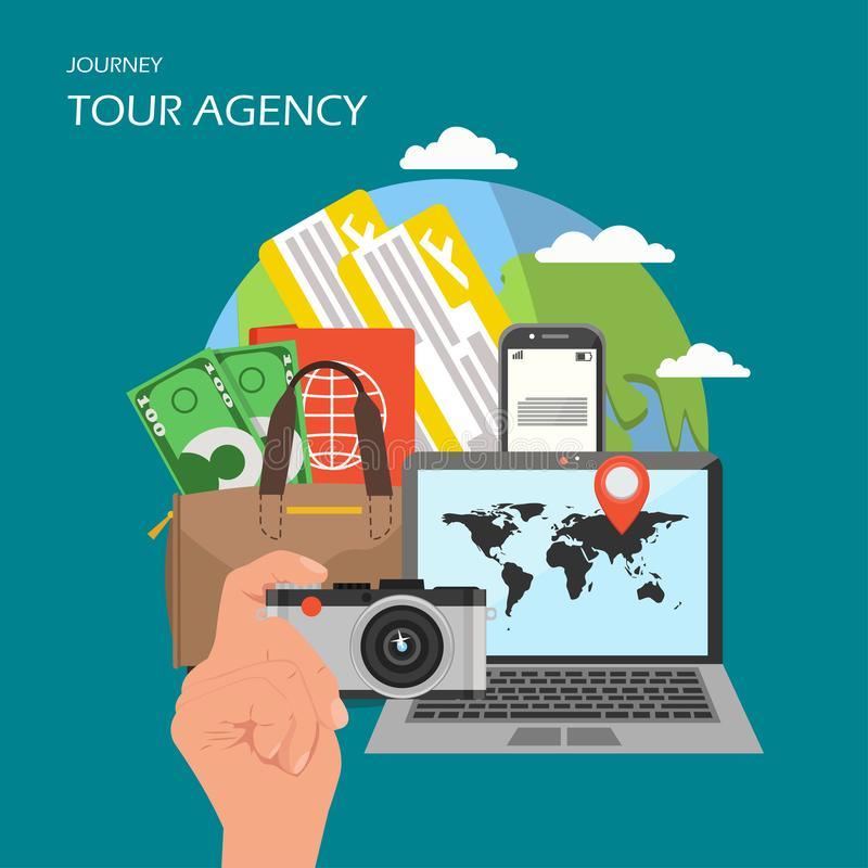 Tour agency poster banner, vector flat illustration. Tour agency poster banner. Vector flat illustration. Globe, smartphone, plane tickets, bag with passport and royalty free illustration