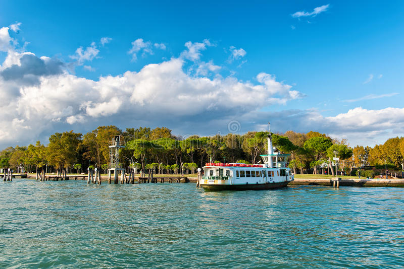 Tour Boat Docked in Rimembranze Park, Italy royalty free stock image