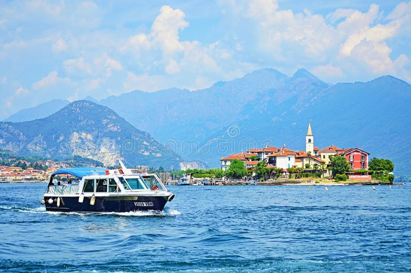Tour boat navgating on Lake Maggiore beautiful scenery Italy royalty free stock photos