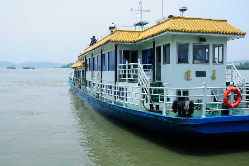 Tour Boat on Tai Lake Wuxi China. A tourist boat docked waiting for more passengers on Tai Lake in Wuxi China stock image