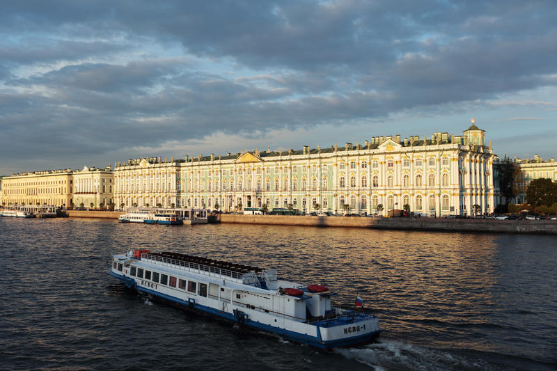 Tour boats on river Neva in St. Petersburg, Russia royalty free stock photo