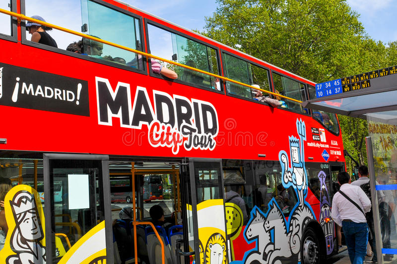 Tour bus in Madrid, Spain royalty free stock images