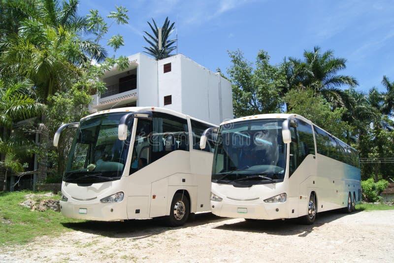 Tour buses. tour coaches parked in a car park or parking area stock photos