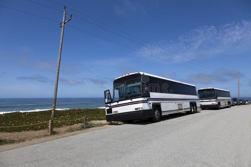 Tour Charter Buses stock photos