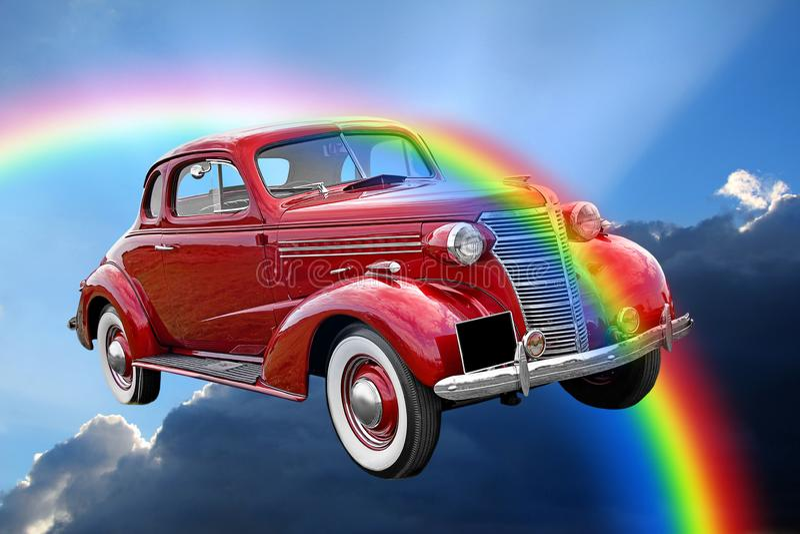 Tour classique de voiture de cru d'imagination par des nuages d'arc-en-ciel illustration stock