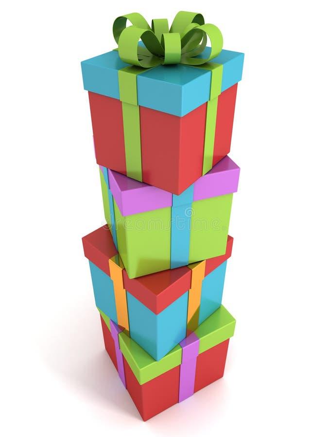 Tour colorée de pile de boîtes-cadeau sur le fond blanc illustration de vecteur