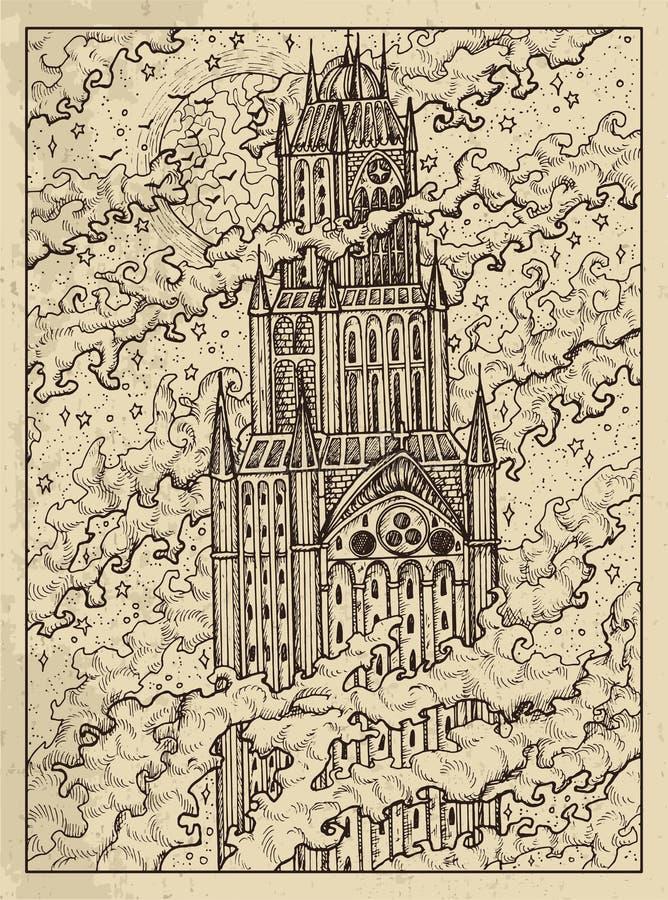 Tour Concept mystique pour la carte de tarot d'oracle de Lenormand illustration stock