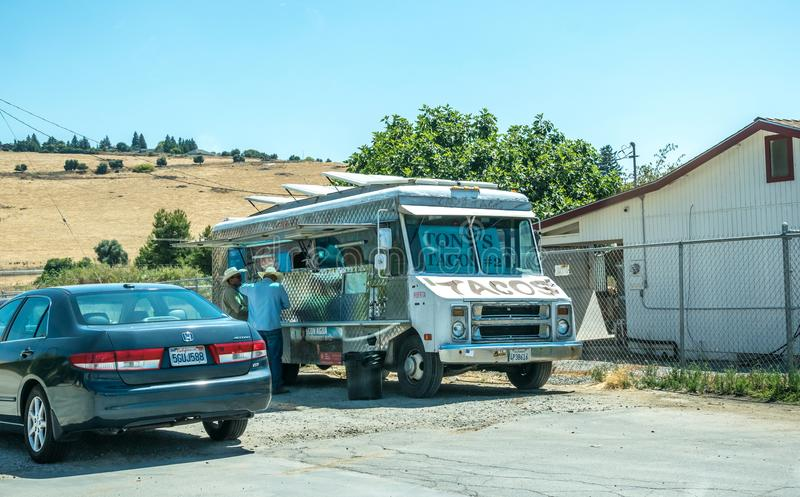 Tour of the countryside in California. Mexican van on the roadside stock images