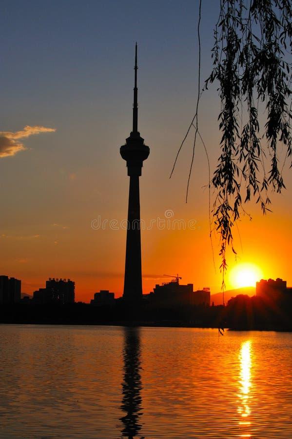 Tour d'émetteur de la télévision en circuit fermé TV de la Chine Pékin image stock