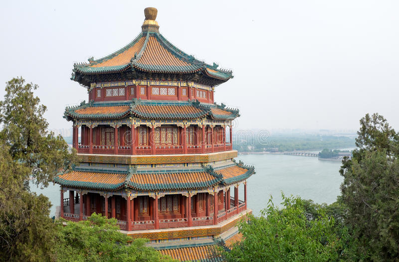 Tour d'encens bouddhiste dans le palais d'été de Pékin, Chine photo stock