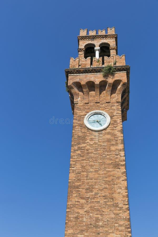 Tour d'horloge à la place de San Stefano dans Murano, Venise, Italie photographie stock libre de droits