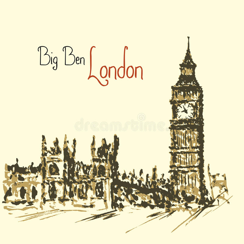 Tour d'horloge d'aquarelle grand Ben Palace de Westminster illustration stock