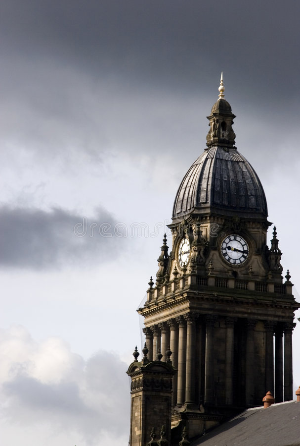 Tour d'horloge d'hôtel de ville de Leeds, Yorkshire photographie stock libre de droits