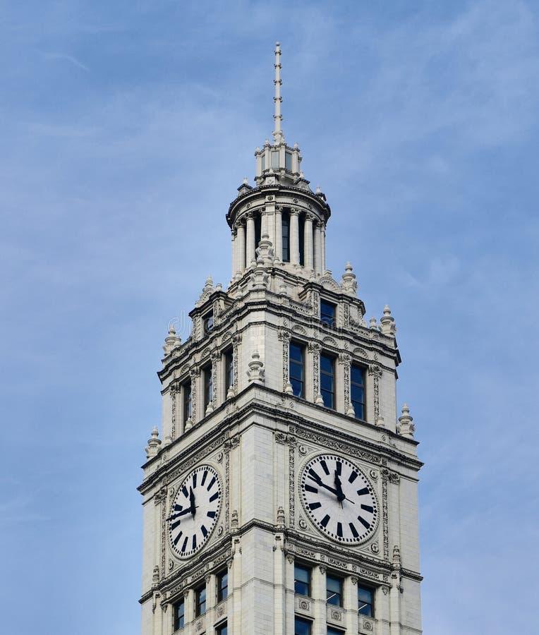 Tour d'horloge de bâtiment de Wrigley images stock