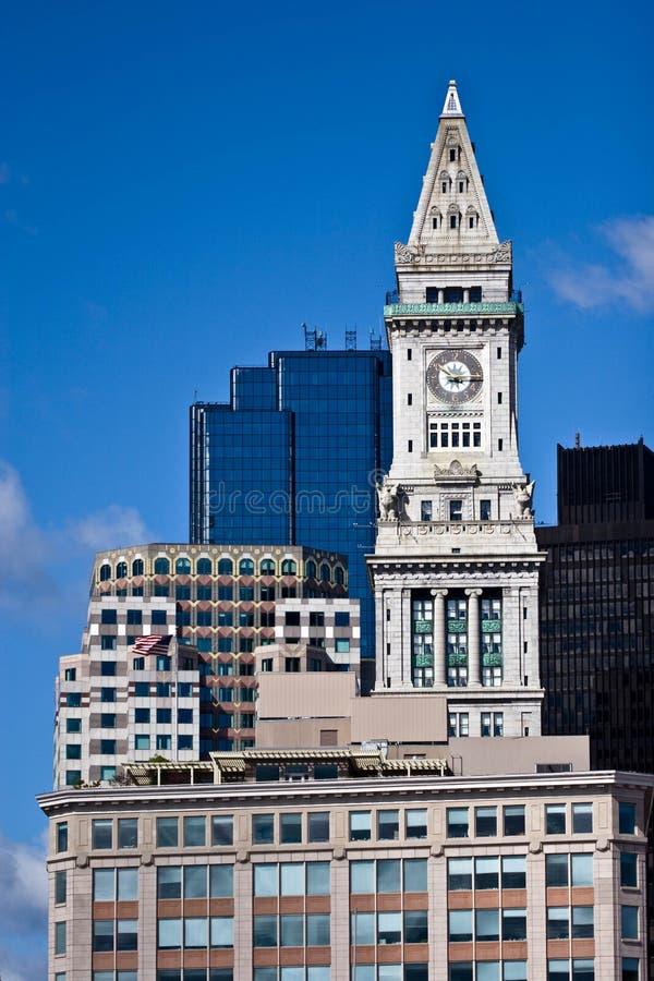 Tour d'horloge de bureau de douane de Boston images libres de droits