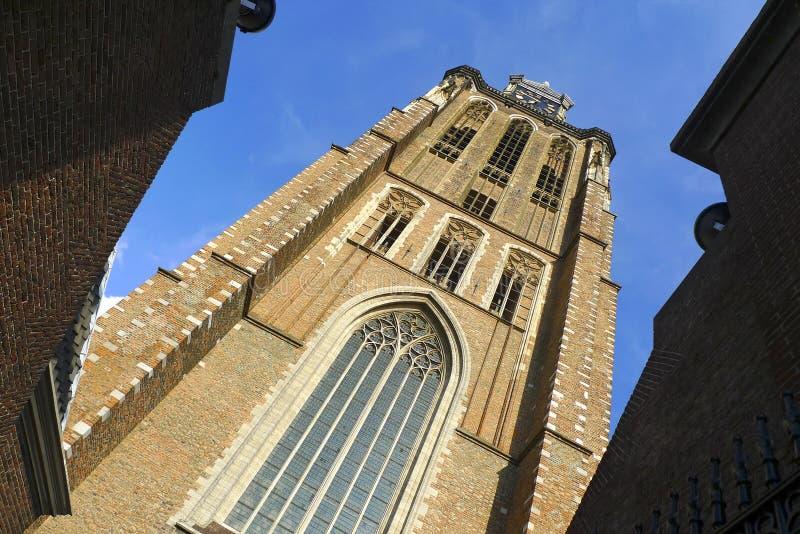Tour d'horloge de cathédrale de Dordrecht, Hollande image libre de droits