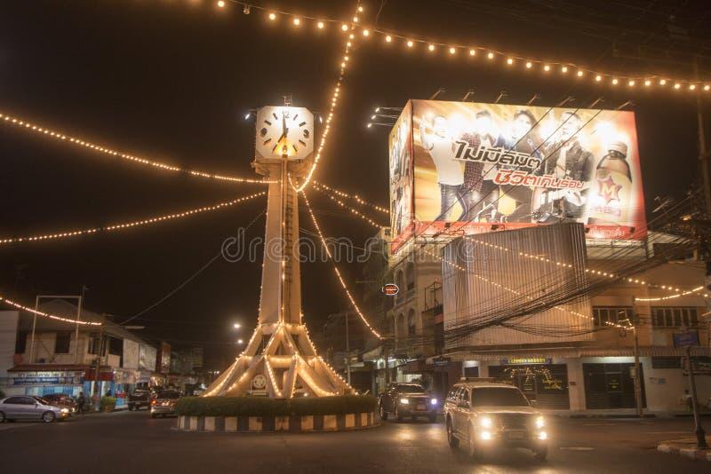 TOUR D'HORLOGE DE CENTRE DE LA VILLE DE LA THAÏLANDE BURIRAM images stock