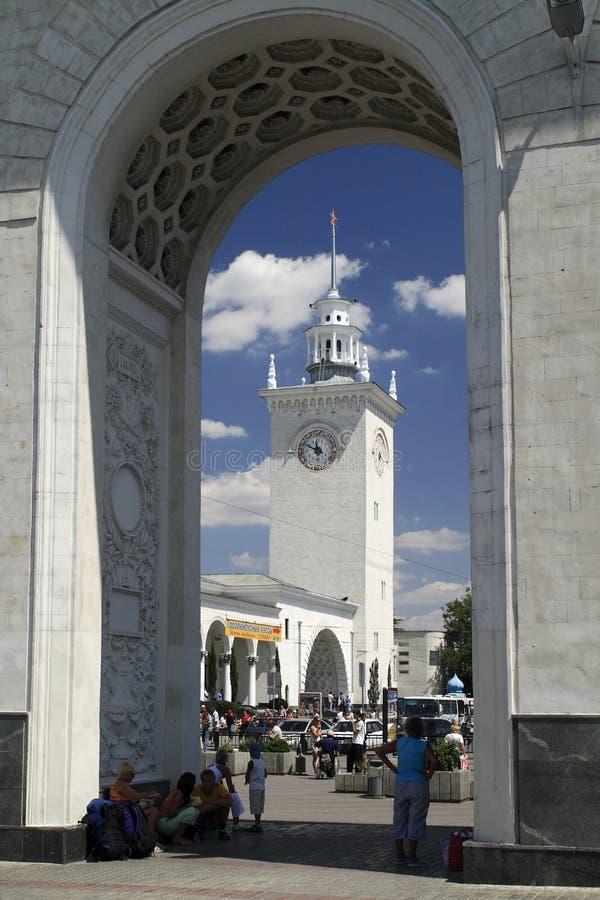 Tour d'horloge de gare de Simferopol image libre de droits