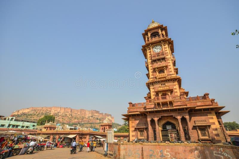 Tour d'horloge de Ghanta Ghar à Jodhpur, Inde image libre de droits