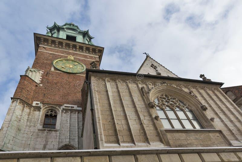 Tour d'horloge de la cathédrale de Wawel à Cracovie, Pologne photo stock