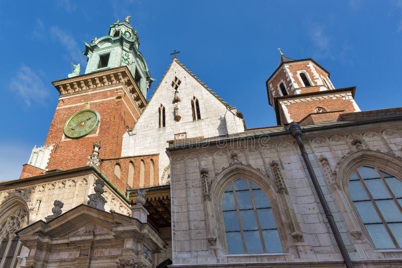 Tour d'horloge de la cathédrale de Wawel à Cracovie, Pologne photographie stock