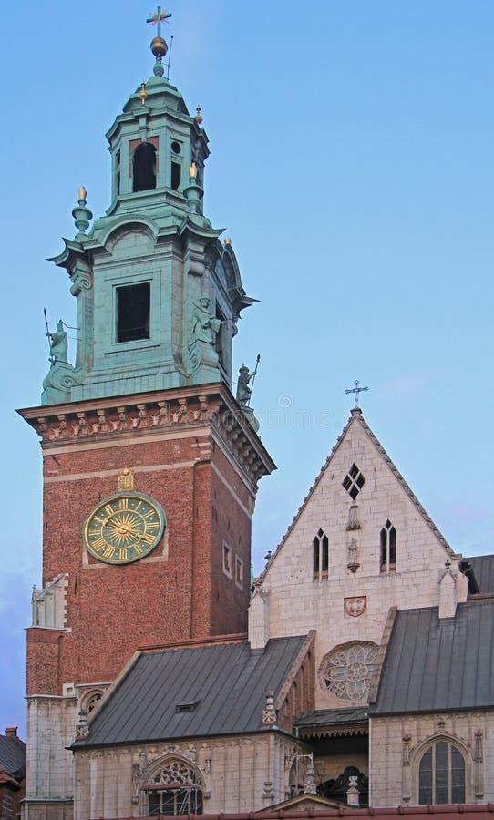 Tour d'horloge de la cathédrale de Wawel photographie stock