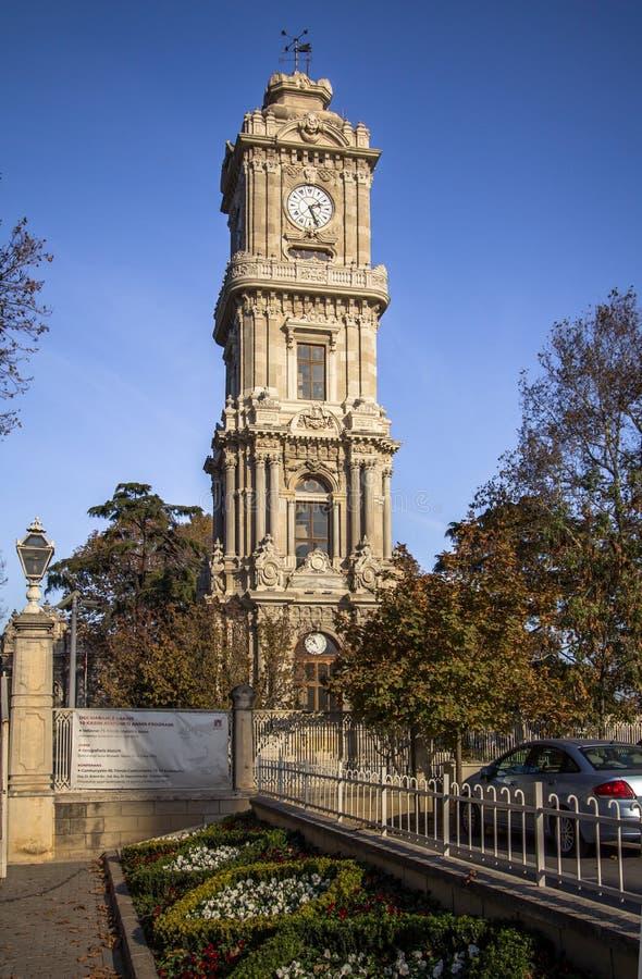 Tour d'horloge de palais de Dolmabahce, Istanbul images libres de droits