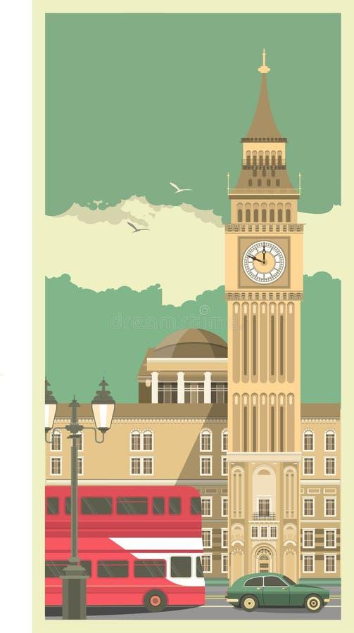 Tour d'horloge de ville illustration stock