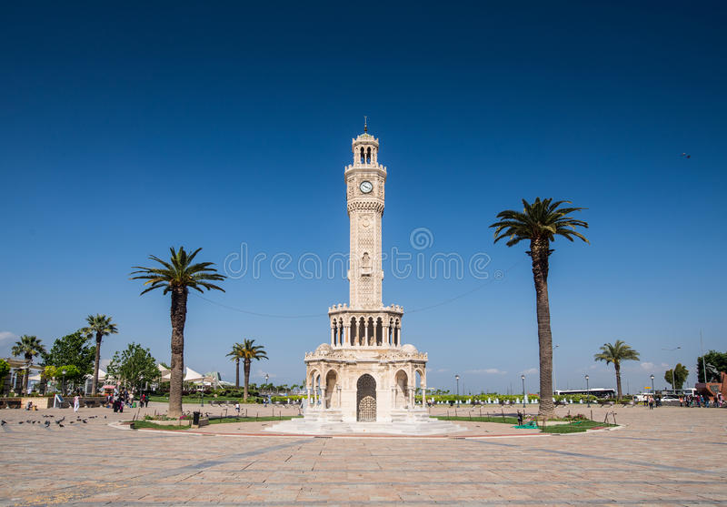 Tour d'horloge historique d'Izmir images libres de droits