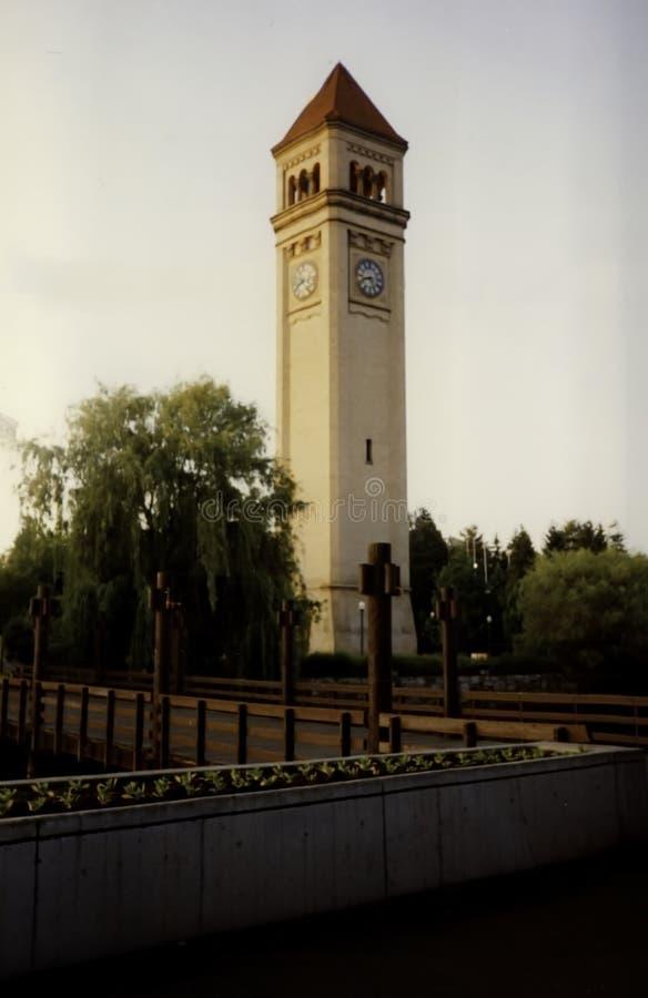 Tour d'horloge, parc de façade d'une rivière, Spokane Washington images libres de droits