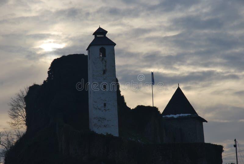 Tour d'horloge sur la vieille forteresse, Bosnie-Herzégovine images stock