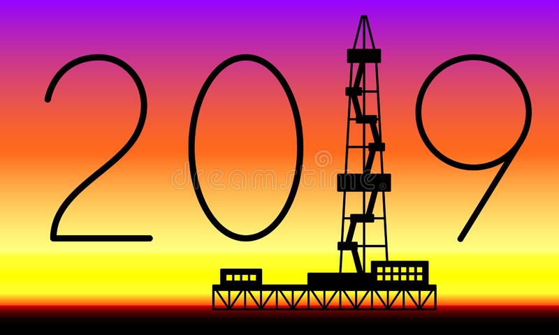 Tour d'huile 2019 marquant avec des lettres illustration de vecteur