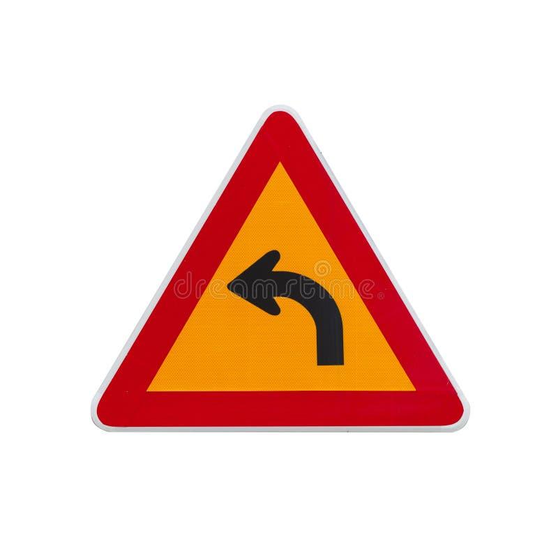 Tour dangereux laissé, poteau de signalisation de avertissement photographie stock