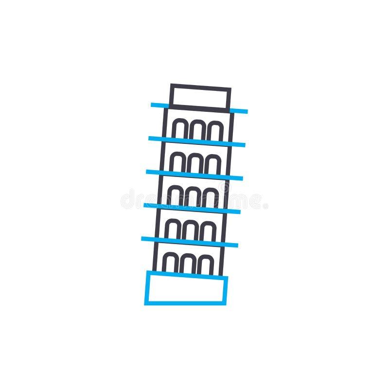 Tour dans le concept linéaire d'icône de Pise Dominez dans la ligne signe de vecteur, symbole, illustration de Pise illustration libre de droits