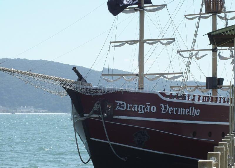 Tour de bateau de pirate dans la baie de Bombas et de Bombinhas, Brésil image libre de droits