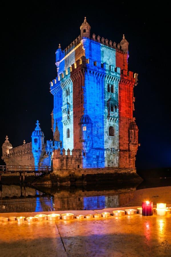 Tour de Belém avec les couleurs du drapeau des Frances image libre de droits