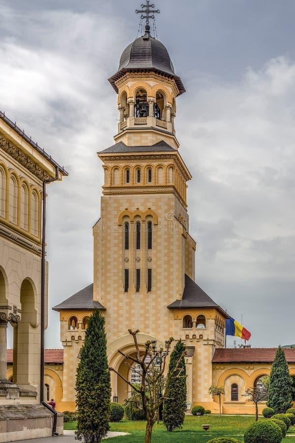 Tour de Bell de cathédrale de couronnement en ville d'Alba Iulia, Transyl images libres de droits