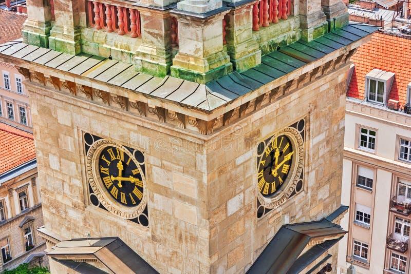 Tour de Bell de basilique de StStephen à Budapest à la journée Hungar photographie stock