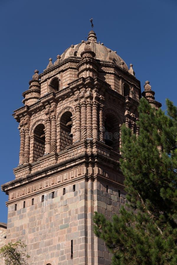 Tour de Bell de cathédrale, Cuzco Pérou image libre de droits
