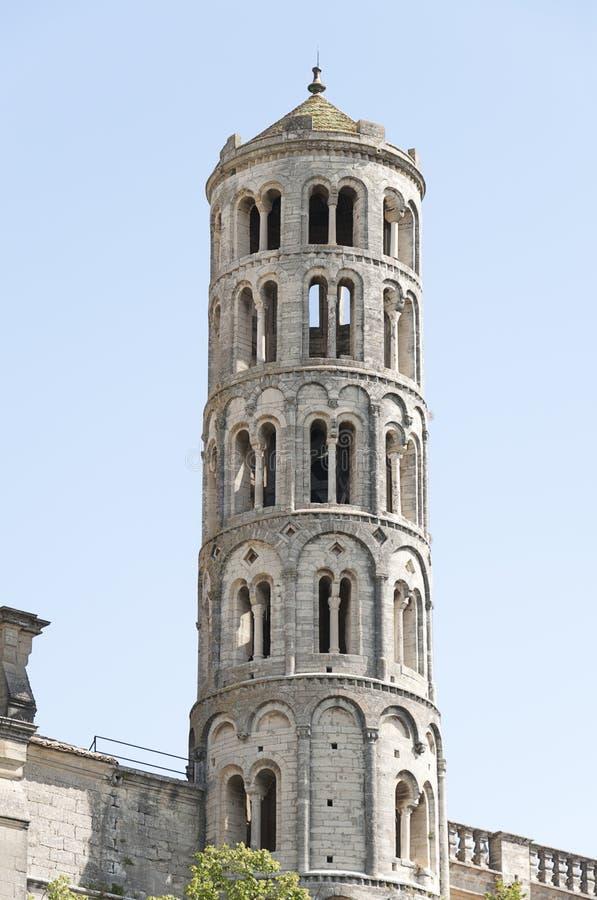 Tour de Bell de cathédrale d'Uzes photographie stock